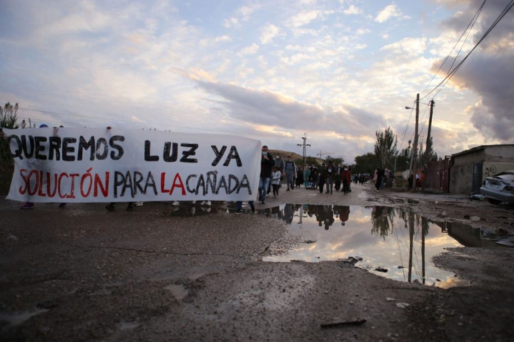 Manifestación en la Cañada Real. Foto Alberto Astudillo.